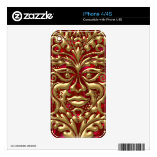 Green Man in liquid gold damask on red satin print Skin For The iPhone 4S