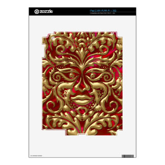 Green Man in liquid gold damask on red satin print Skins For iPad 2