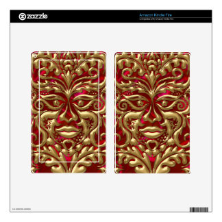 Green Man in liquid gold damask on red satin print Skins For Kindle Fire
