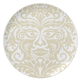 Green Man in natural white and stone Melamine Plate