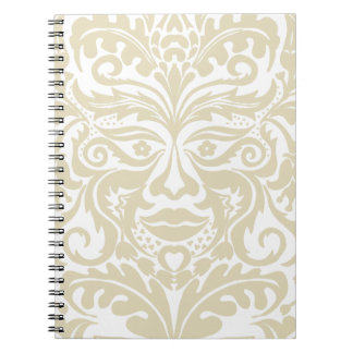 Green Man in natural white and stone Spiral Notebook