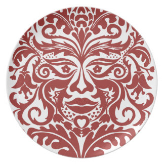 Green man in Reds and white Dinner Plate