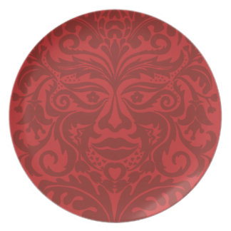 Green man in Reds and white Melamine Plate