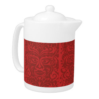 Green man in Reds and white Teapot
