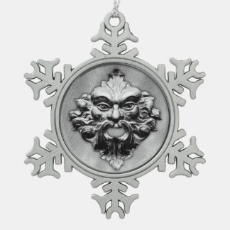 Green Man in Silver - Pewter Snowflake 1 Snowflake Pewter Christmas Ornament