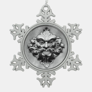 Green Man In Silver - Pewter Snowflake 1 Snowflake Pewter Christmas Ornament at Zazzle