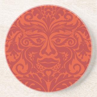 Green Man in Tangerine & Orange Sandstone Coaster