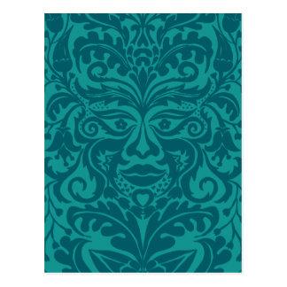 Green man in Turquoise & Teel Postcard