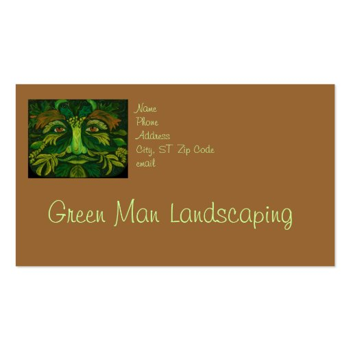 Green Man Landscaping or Gardener Business Card