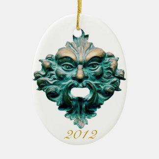 Green Man on Oval & 2012-CC0000 Ceramic Ornament