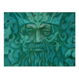 Green Man, pastel painting, fantasy art Postcard