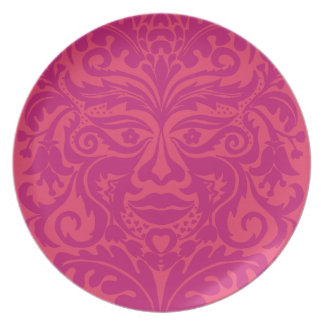GREEN MAN Pink Party Plate