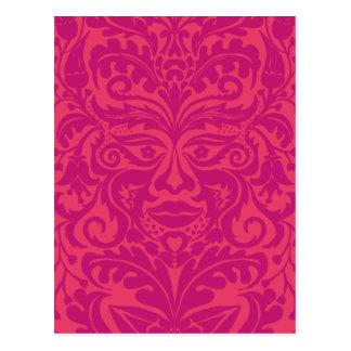 GREEN MAN Pink Postcard