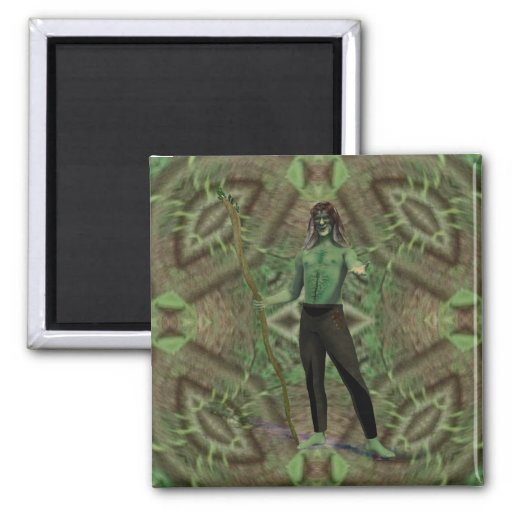 Green Man's Welcome 2 Inch Square Magnet