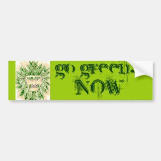Green Man says Go Green NOW - Customized Bumper Sticker