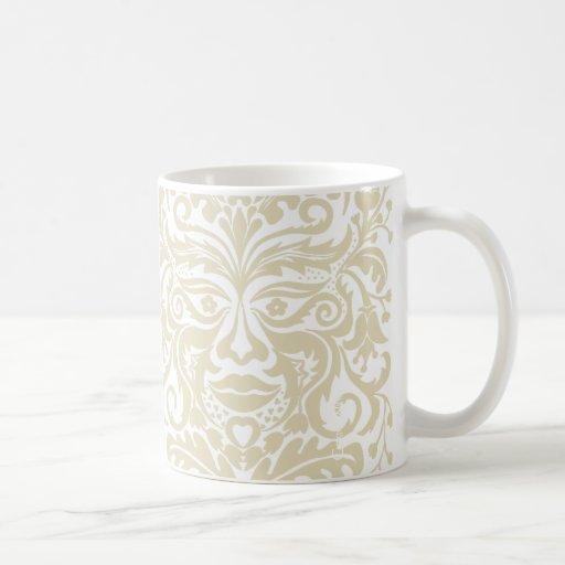 GREEN MAN White & Stone Coffee Mugs