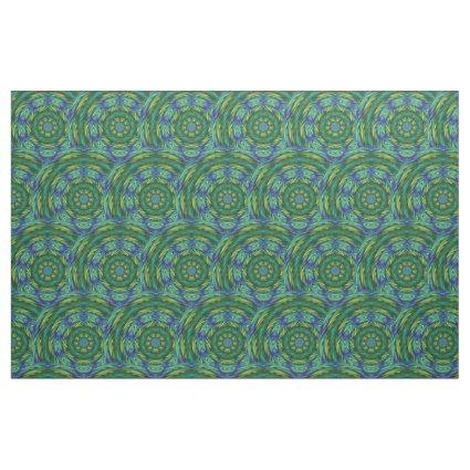 Green Mandala Abstract Fabric