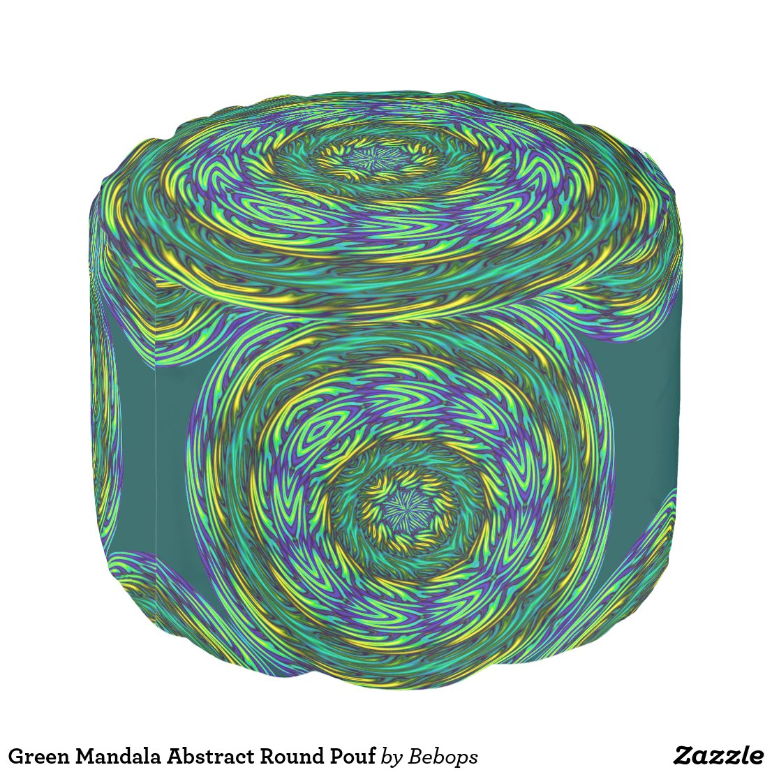 Green Mandala Abstract Round Pouf