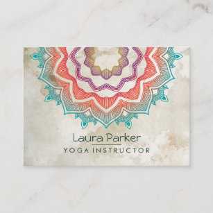 Holistic business cards templates zazzle green mandala art yoga instructor holistic business card colourmoves