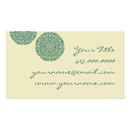 Green Mandala Business Card (back side)
