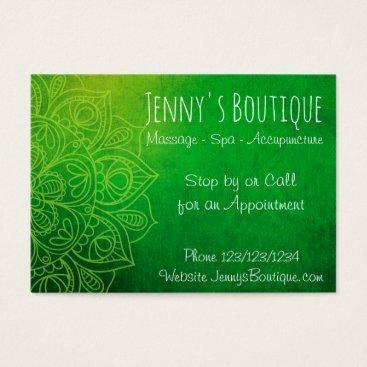 Professional Business Green Mandala Classy Business Card