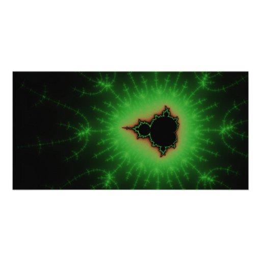Green Mandelbrot Explosion Photo Card