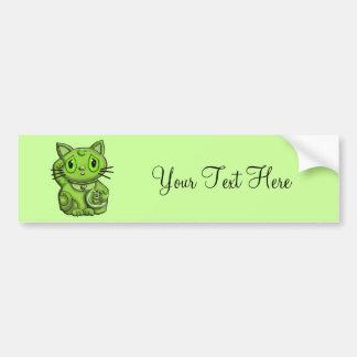 Green Maneki Neko Lucky Beckoning Cat Car Bumper Sticker