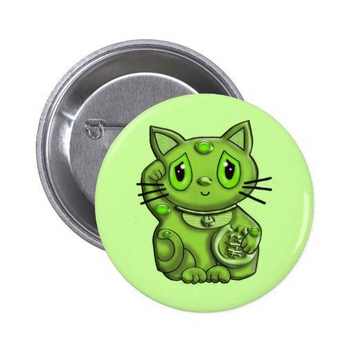 Green Maneki Neko Lucky Beckoning Cat Buttons