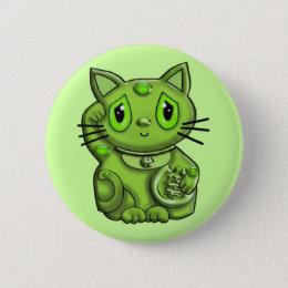 Green Maneki Neko Lucky Beckoning Cat Button
