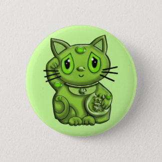 Green Maneki Neko Lucky Beckoning Cat Button