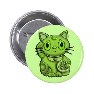 Green Maneki Neko Lucky Beckoning Cat Pin