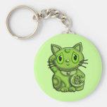 Green Maneki Neko Lucky Beckoning Cat Key Chain