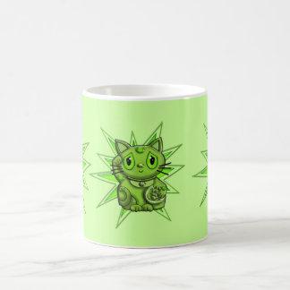 Green Maneki Neko Lucky Beckoning Cat Mug