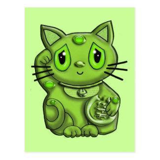 Green Maneki Neko Lucky Beckoning Cat Postcard