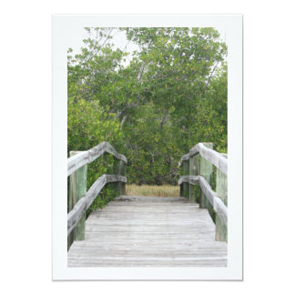 Green mangrove background, dock leading in 5x7 paper invitation card