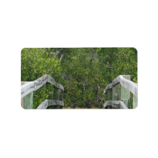 Green mangrove background, dock leading in address label