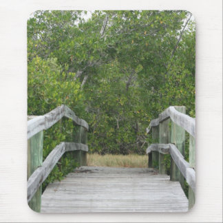 Green mangrove background, dock leading in mouse pad