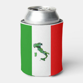 Green Map of Italy and the Italian Flag Can Cooler