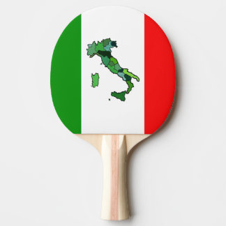 Green Map of Italy and the Italian Flag Ping Pong Paddle