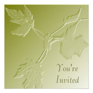 Green Maple Leaves Bas Relief Invitation
