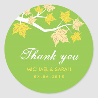 Green Maple Leaves Fall Wedding Thank You Sticker