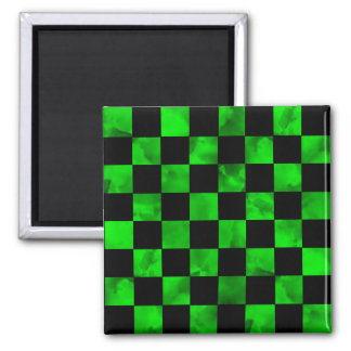 Green marble  Checkerboard 2 Inch Square Magnet