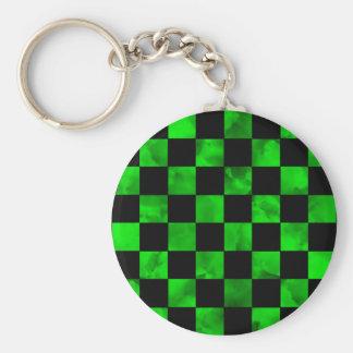 Green marble Checkerboard Basic Round Button Keychain