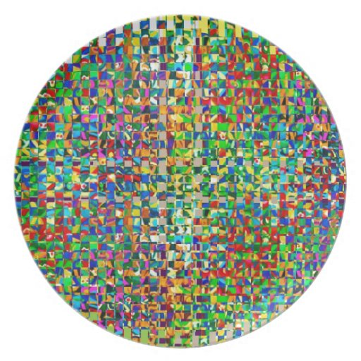 GREEN Marble Checks : Graphic Creation Party Plate
