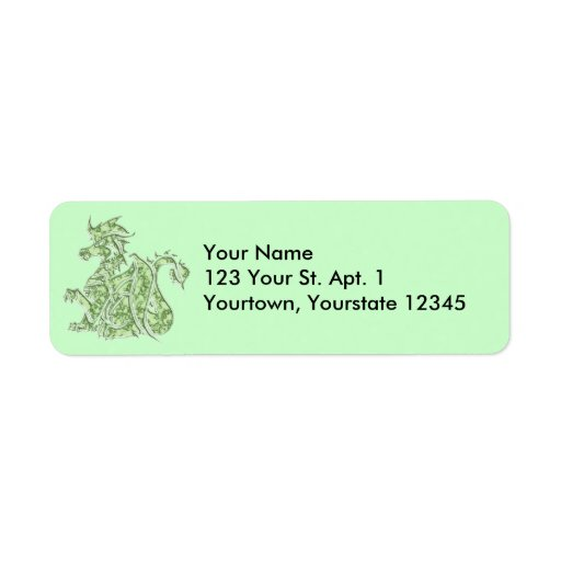 Green Marble Dragon Address Label
