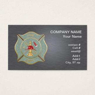 Green marble maltese  firefighting cross business card