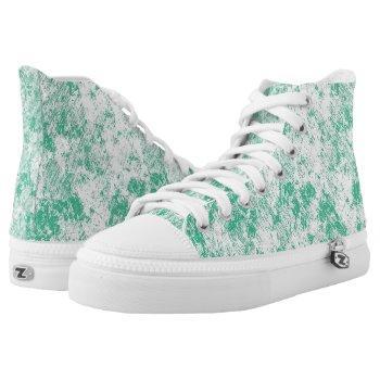 Green Marble Mesh High-Top Sneakers