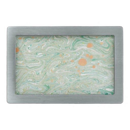 Green Marble Rectangular Belt Buckles