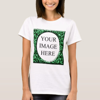 Green marble square frame template T-Shirt