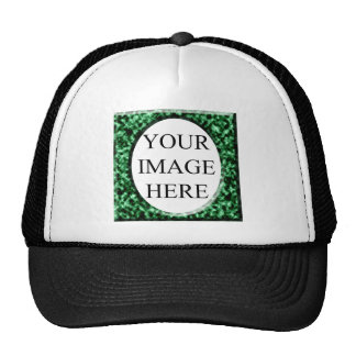 Green marble square frame template trucker hat